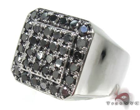 TraxNYC Black Diamond 10k White Gold Ring Stone
