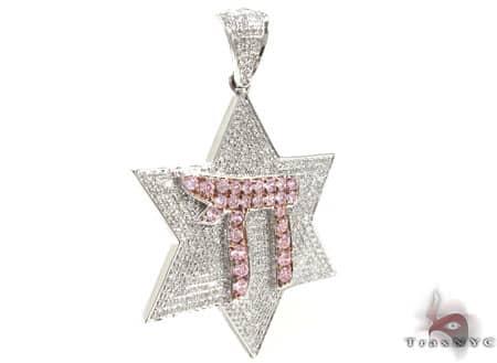 Ladies Pink & White Chai Pendant Stone