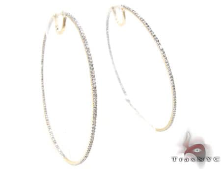 Yellow Gold Big Prong Hoops Stone