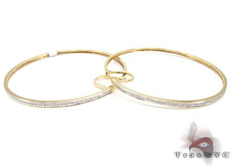 Yellow Gold Big Prong Hoops 3 Stone