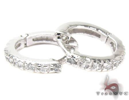 CZ Sterling Silver Huggie Earrings Metal