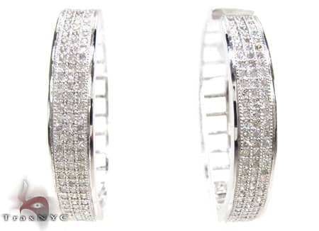 White Gold Circus Hoops Stone