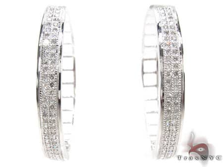 White Gold Circus Hoops 2 Stone