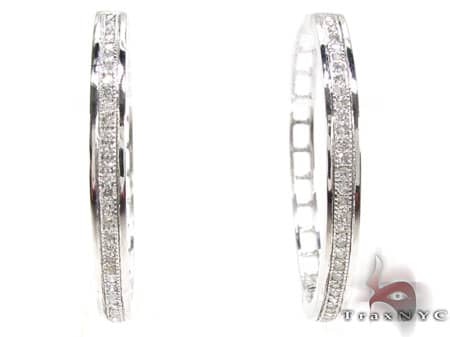 White Gold Circus Hoops 3 Stone