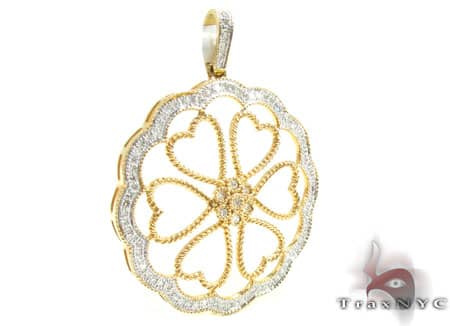 Yellow Gold Heart Flower Pendant Stone