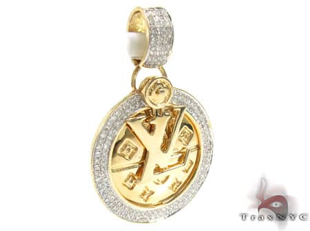 Yellow Gold LV Pendant Stone