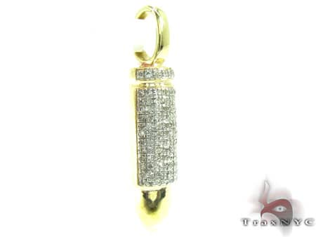 Yellow Gold White Bullet Pendant Metal