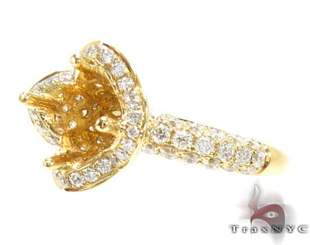 Yellow Gold Flower Petals Semi Mount Ring Engagement