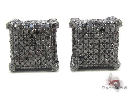 Black Diamond Ice Cube Earrings Stone