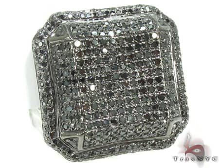Black Octagon Ring 2 Stone