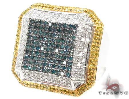 White Gold Multi Color Octagon Ring 2 Stone