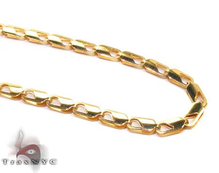 Yellow SS Linked Chain 36in, 4mm, 17.5 Grams Stainless Steel