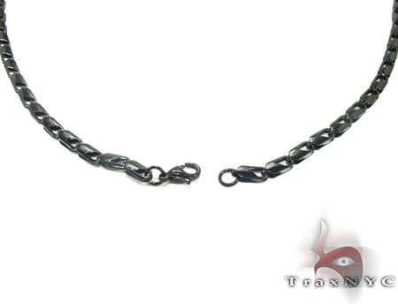 Black SS Linked Chain 40in, 4.5mm, 19.9 Grams Stainless Steel