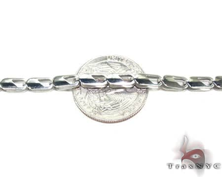 White SS Linked Chain 36in, 4mm, 17.8 Grams Stainless Steel