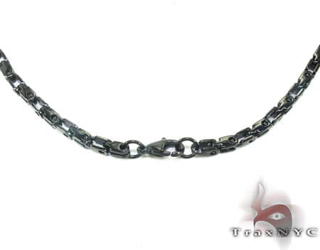 Black SS  Heavy Linked Chain 30in, 3.5mm, 34.8 Grams Stainless Steel