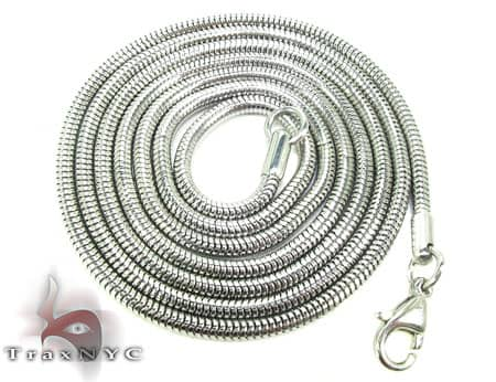 White SS Snake Chain 30inch, 2mm, 12.4 Grams Stainless Steel