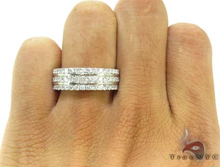 Three Row Wedding Band Stone