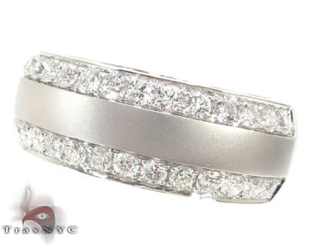 Dual Row Mens White Gold Wedding Ring Stone