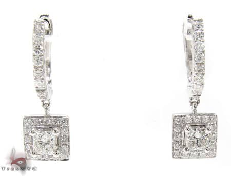 Square Design Earrings Stone