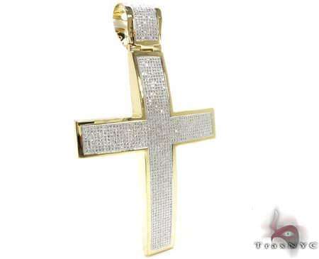 Yellow Gold XL Pave 10K Cross Diamond