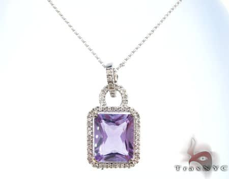 Amethyst and Diamond Necklace Stone