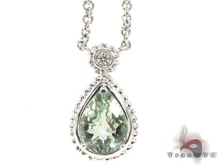 Green Quartz Diamond Necklace Stone