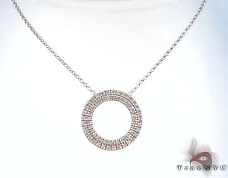2 Row Circle  Pendant and Chain Stone