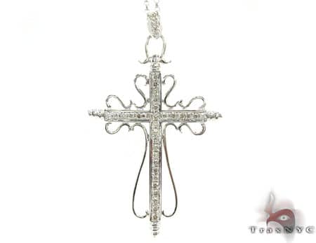 Ladies Cross Crucifix Pendant & Chain Stone