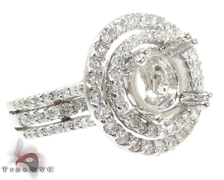 18K Gold 2 Row Circle Diamond Semi Mount Ring 25645 Engagement