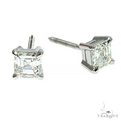 18K Gold Asscher Cut Diamond Earrings 66607 Stone