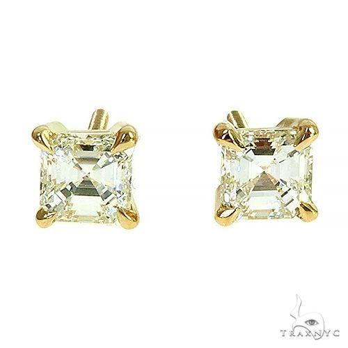 18K Gold Asscher Cut Diamond Stud Earrings 66608 Stone