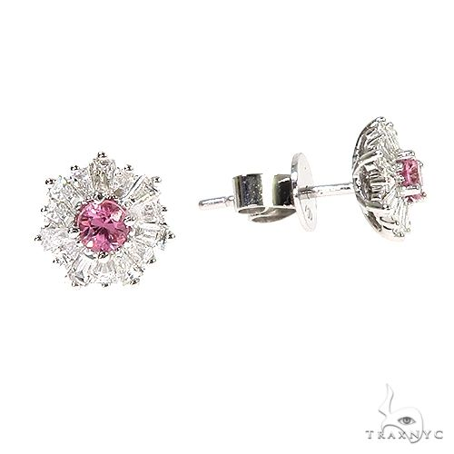 18K Gold Snowflake Sapphire Diamond Earrings 67089 Multicolor SAPPHIRE