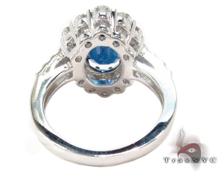 18K Gold Blue Sapphire Diamond Ring 31543 Anniversary/Fashion