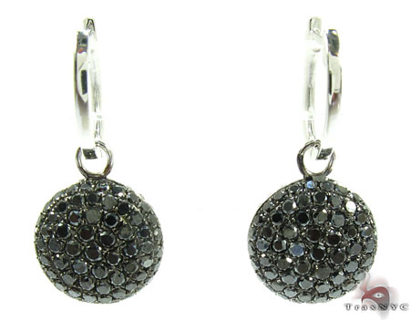 18K Gold Diamond Disc Earrings 25599 Stone