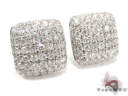 18K Gold Diamond Pillow Earrings 25602 Stone