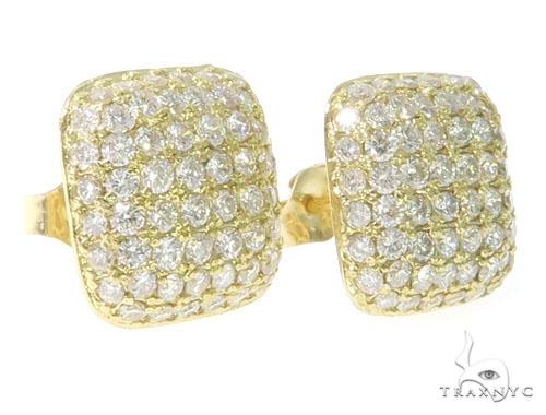 18K Gold Diamond Pillow Earrings 58586 Stone