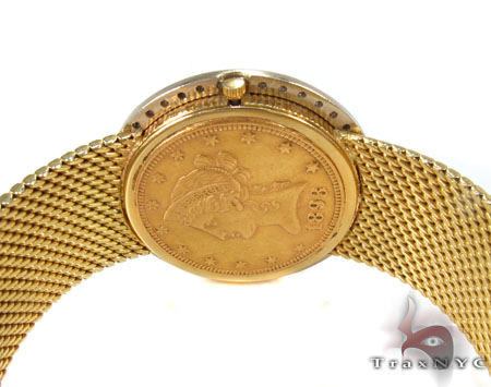 18K Gold Eagle 10 Dollar Coin Dial Solid Band Watch Special Watches