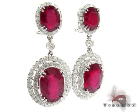 18K Gold Ruby and Diamond Elegant Earrings 25596 Stone