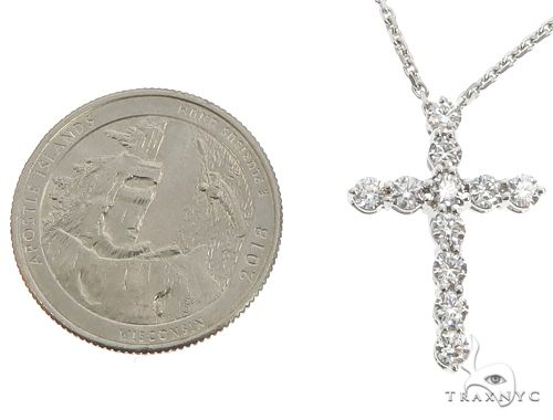 18K White Gold Diamond Cross Pendant with 18 Inch Chain 64630 Stone