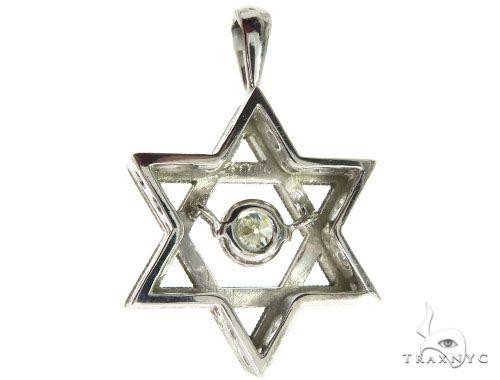 18K White Gold Prong Bezel Diamond Charming Pendant 63996 Metal