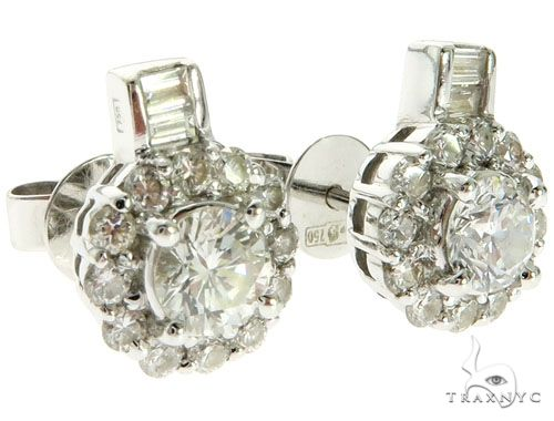 18K White Gold Prong Channel Diamond Stud Earrings 62577 Stone