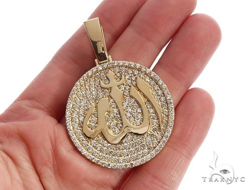 18K Yellow Gold Custom Diamond Allah Islam Pendant 65407 Metal