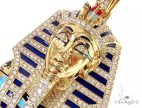 18K Yellow Gold Custom Diamond Pharaoh Pendant 65190 Metal
