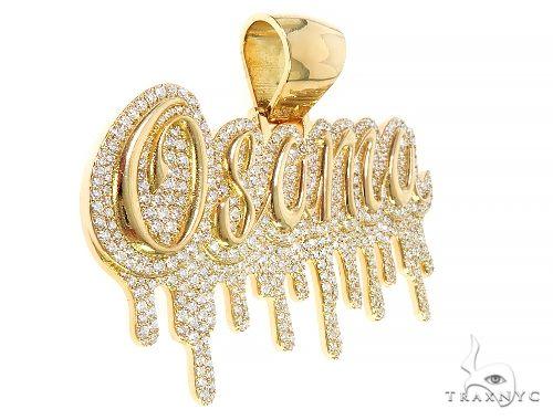18K Yellow Gold Custom Made Osama Name Pendant 65666 Metal