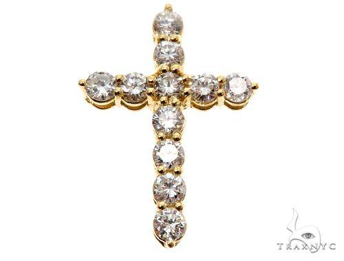 18K Yellow Gold Diamond Cross 64575 Gold