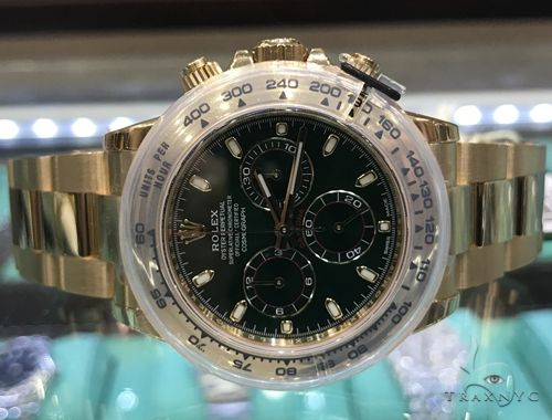 18K Yellow Gold Green Dial Daytona Rolex Watch 63901 Diamond Rolex Watch Collection