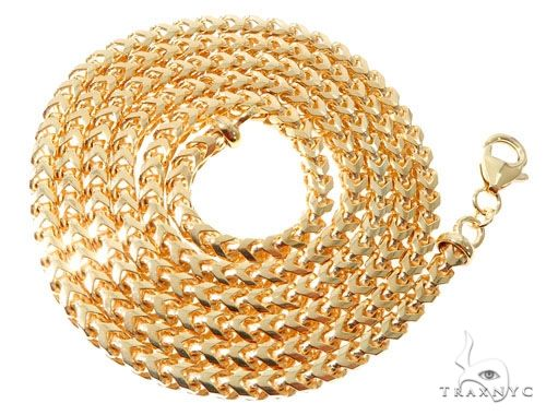18K Yellow Gold Solid Franco Link Chain 28 Inches 4mm 90.7 Grams 63997 Gold