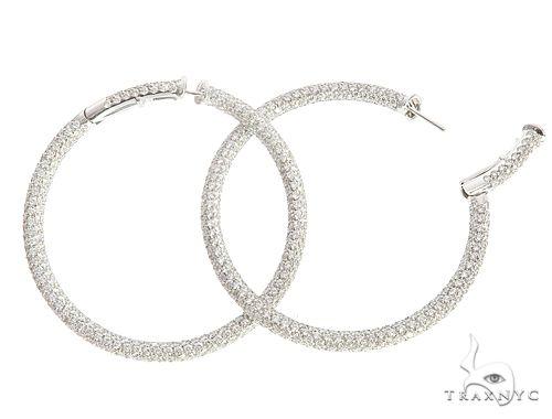 18k White Gold Cantamessa Diamond Hoop Earrings 65116 10k, 14k, 18k Gold Earrings