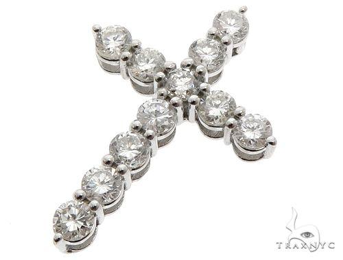 18k White Gold Diamond Cross Pendant 64576 Diamond