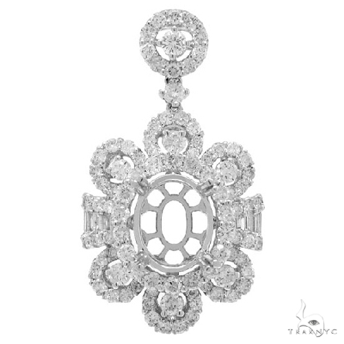 18k White Gold Diamond Semi-mount Pendant Necklace Style